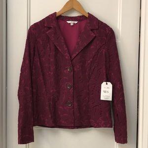 Cabi frolic plum berry lace jacket size 6.